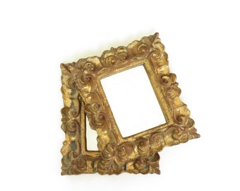 Pair of Small Vintage Italian Gold Framed Florentine Mirrors - Small Vintage Gold Mirrors - Pair of Small Old Mirrors - Antique Mirrors