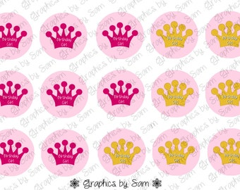 """1"""" DIGITAL Bottle Cap IMAGES - Birthday Girl-Crowns Pink and Gold- For Use On Finished Products & For Precut sale"""