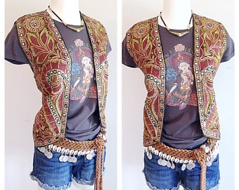 Hippie Boho Heavily Embroidered Indian Vest Festival Wear
