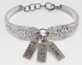 Satin Finish Handcrafted Spoon Bracelet Faith, Hope and Love Charms