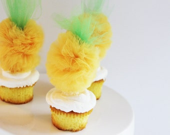 Pineapple Cupcake Toppers, Tulle Pom Poms, Cake Toppers, Food Picks, Citrus Soiree Collection - Set of 6