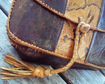 Exotic Skin Purse Pouch Messenger Shoulder Tote Bag Guys, Gals; Whip Stitches + Leather Braids, Tassel; Rustic Style Reptile 10 1/2 X 9 1/2""