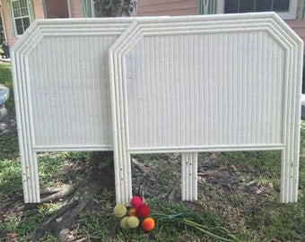 FAUX BAMBOO HEADBOARDS Pair Twin, or King / Bamboo and Wicker Asian, Chinese Chippendale, Chinoiserie at Ageless Alchemy