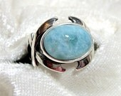 14x10 Larimar Ring, Dolphin Stone Ring, Larimar Opal Ring East-West 925 Solid Sterling Silver, Size 7 or 8