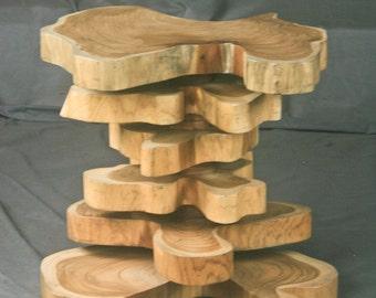 Teak End Table, live edge. Nightstand, Side Table. Custom sizes. Handmade. Real Teak Wood.