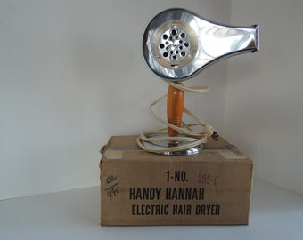 Handy Hannah Hair Dryer, Chrome, Original box, Excellent working condition, Vintage