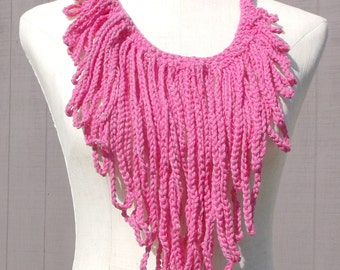 Bright Pink crochet necklace , Cotton fringe necklace , Handmade  necklace , Gift under 20 , Ready To Ship , Gift For Her