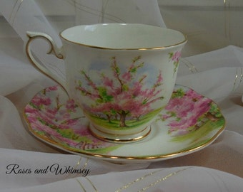 Blossom Time Royal Albert - Made in England - Pink Blossoms, Lots of Gilding - Cup and Saucer