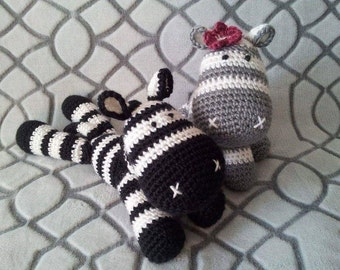 Striped Zebra Stuffed Animal Black or Grey and White Doll Toy by Blackberry Crochet