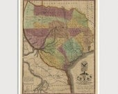Old Texas Map Art Print 1837 Antique Map Archival Reproduction