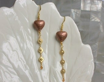Earrings Long Dangle Drop Copper Hearts Matte Gold Chain Swarovski Crystal Slender Modern Fashion Jewelry Crystal Jewellery Valentine