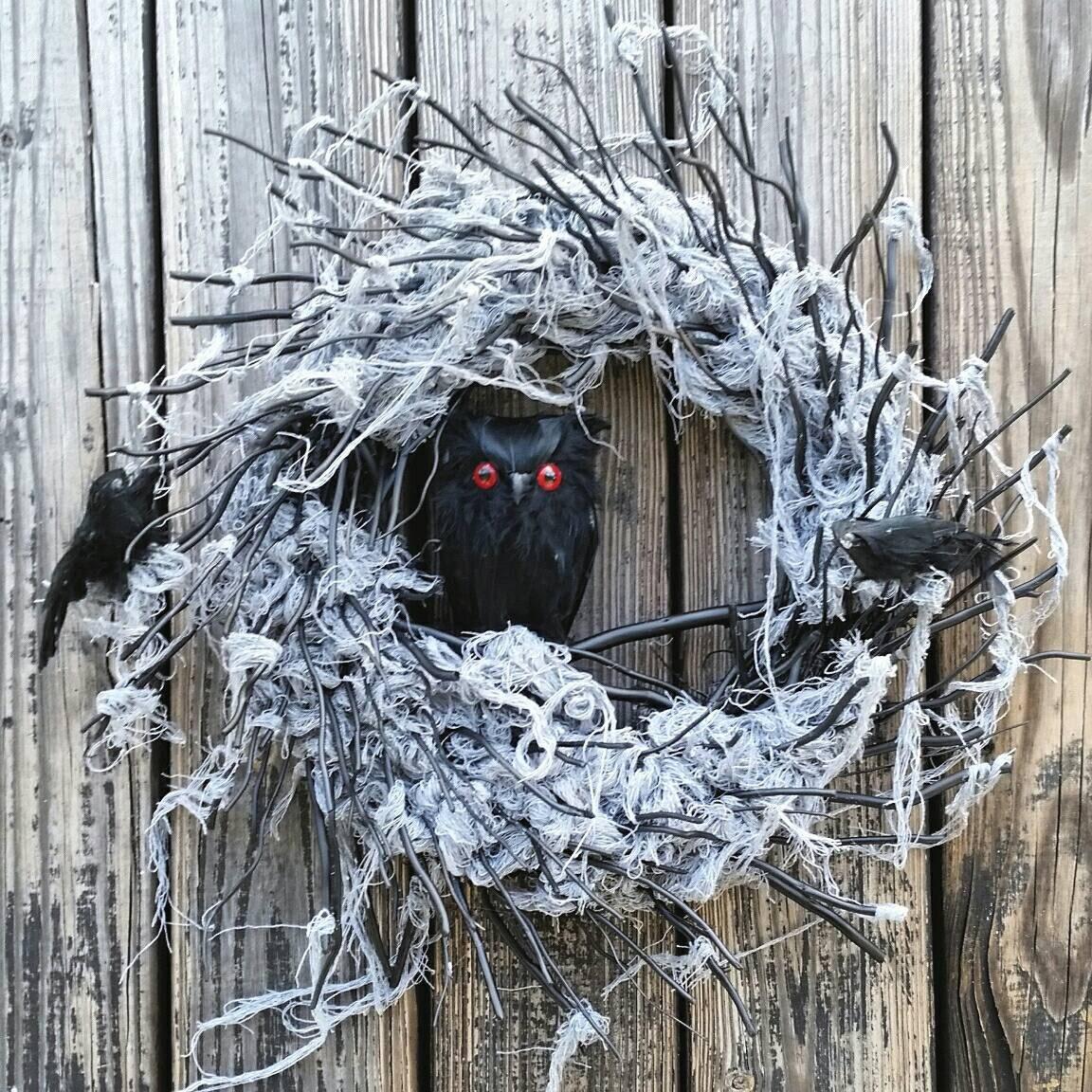 Black Flower And Crow Halloween Wreath: Halloween Wreath Gossamer Black Twig Wreath