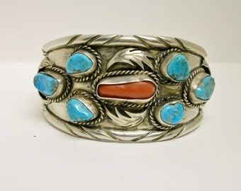 Vintage Cuff Bangle Bracelet Native American Feather Coral Wide signed JJ Wilson Turquose