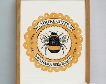 Cute Bee Print