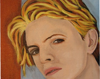 8x10, young David Bowie, Canvas board acrylic painting, signed