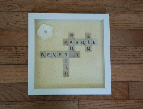 Forty Fifth Wedding Anniversary Gifts: Scrabble Name Frame, Scrabble Tile Art, Name Collage, 5th