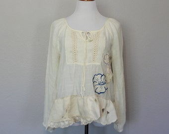 Upcycled Boho Women's Shirt Shabby French Country Clothing  Bohemian Peasant Clothes Unique Romantic Top