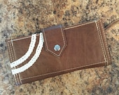 SHIPS TODAY Leather Clutch Wallet w/ Zipper Pocket, 12 Card Slots & Lace Accents