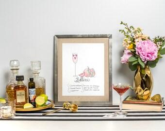 """Signature Drink Recipe Art Print 8x10"""" - Signature Cocktail Recipe Art Print -  Recipe Art - Bar Cart Print - Bellini"""
