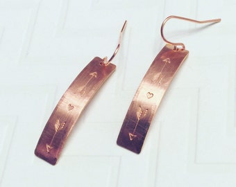 Hand Stamped Copper Arrow Love Earrings