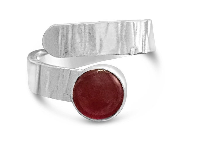 Carnelian and Sterling Silver Adjustable Ring