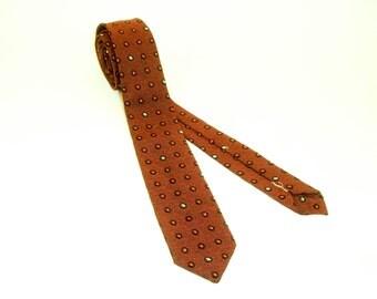 1950s MOD Skinny Tie Narrow Mad Men Era Mid Century Modern Red & Black Sharkskin Mens Vintage Necktie