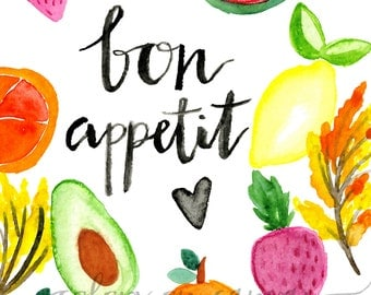 Bon Appetit Watercolor Printable // watercolor print // 8.5 x 11 inches // DIGITAL DOWNLOAD