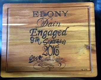 Personalised Pyrography 'Engagement' Chopping Board