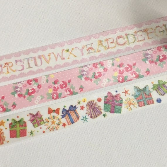 1 Roll of Japanese Washi Masking Tape (Pick 1)-Alphabets,  Pinky Floral, or Presents