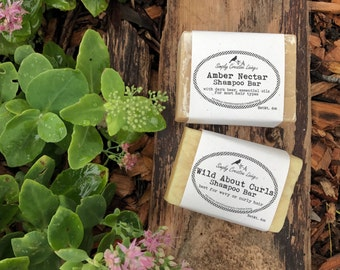 Shampoo Bars: Amber Nectar Beer Shampoo / Wild About Curls - Everyday Plus Camping, Gym Friendly - Body, Hair