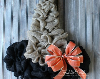 Stunning Witch Hat  Burlap Wreath Halloween Decor Country Chic
