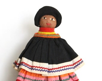 Vintage African Doll - Handmade Doll - Dark Skin Doll - Ethnic Doll - Black Doll - Palm Tree Doll - Gift