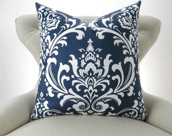 Navy Damask Throw Pillow -MANY SIZES- Navy Cushion, Damask Pillow Cover, Nautical Decor, Navy Blue White, Ozborne Premier Prints, FREESHIP