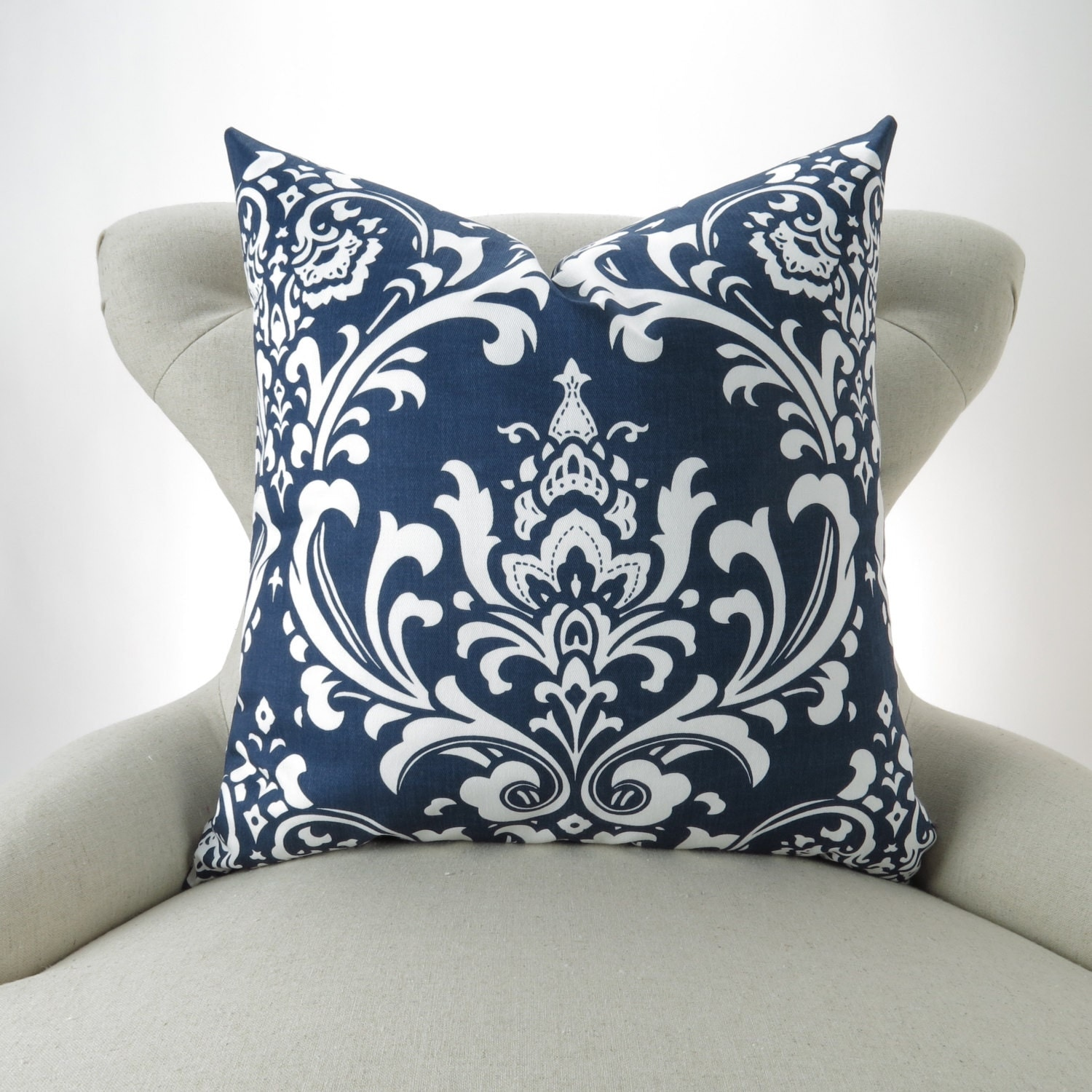 Navy Damask Throw Pillow MANY SIZES Navy Cushion Damask