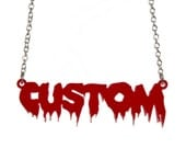 Horror personalised name necklace - laser cut mirror acrylic