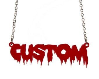 Horror personalised name necklace - laser cut acrylic