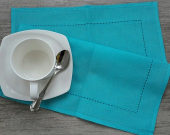 LINEN Napkins - Deep Sky BLUE napkins - linen Napkin, Table napkin, table linen, wedding napkins, dinner napkins, cloth napkins