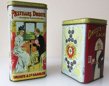 Vintage Droste tins, set of Dutch tin boxes Droste's Cacao Tin Nurse Dutch Cocoa Container Canister Storage The Netherlands Holland Haarlem