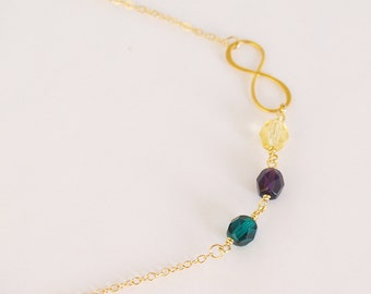 Infinity Birthstone Necklace - 14k Gold Filled - Birthstone Jewelry - Personalized Custom Layering Necklace - Beaded Birthstone Mom Gift