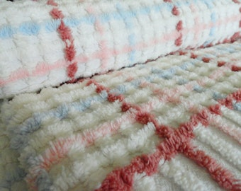 SALE...Pink, Blue, and Brown Plush Lines and Plaid on White Morgan Jones Vintage Chenille Bedspread Fabric ,,,18 x  24""