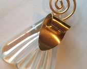 Vintage Abstract Carved Lucite Pendant ~ Gold Scroll ~ Art Deco