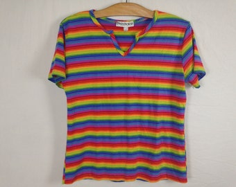 rainbow striped top size M