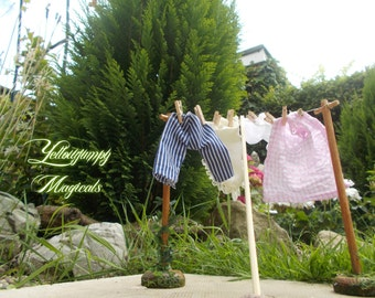 "1/12th dollhouse miniature Washing Line ""Blowing in the breeze"""