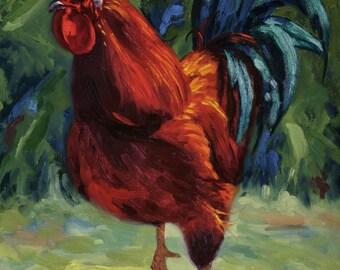 Ceramic Art Tile: Big Red III, Rooster