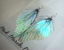 Fairy wing earrings, iridescent cicada style with sterling silver ear wires, latch back and clip on version available