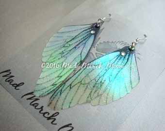 Fairy wing earrings, transparent iridescent cicada style with sterling silver ear wires, latch back and clip on version available