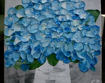 Original  Blue Hydrangea    Flower  Palette Knife Technique  Small Acrylic Painting.