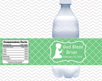 Kneeling Boy Green Baptism Christening First Holy Communion  - Personalized water bottle labels - Set of 5  Waterproof labels