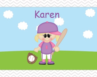 Customized Softball Placemat - Personalized Softball Placemat for Girl - Softball Double Sided Laminated Placemat for Kids