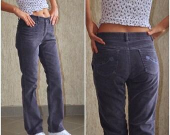 Classic Vintage Velvet Pants, W 29-30 L 30 Violet Color Girl Sport Fashion Cotton Trousers Right High Waist